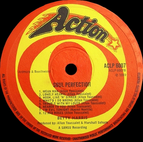 "Betty Harris : Album "" Soul Perfection "" Action Records ACLP 6007 [ UK ] en 1969"