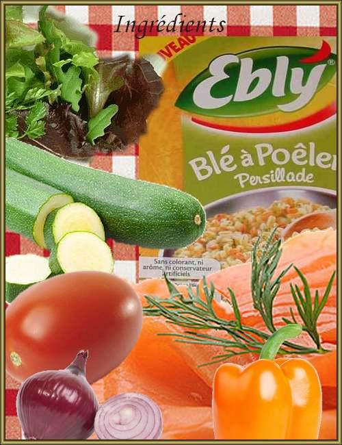 Recette de cuisine : Taboulé d'Ebly, Fondant de Courgette, Poivron à la Coriandre et Saumon Fumé