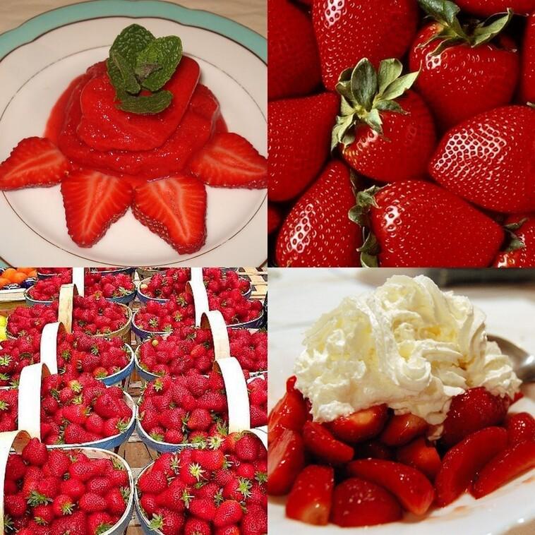 Verrine avec des fraises