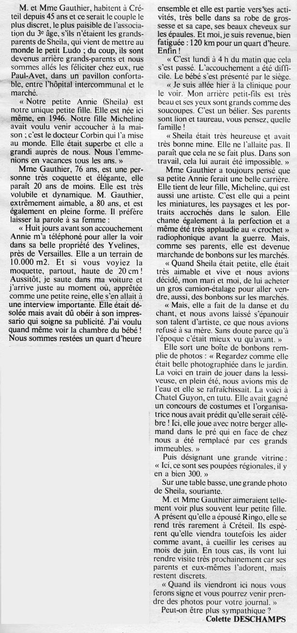 10 avril 1975 : Interview de la Grand-Mère de Sheila !