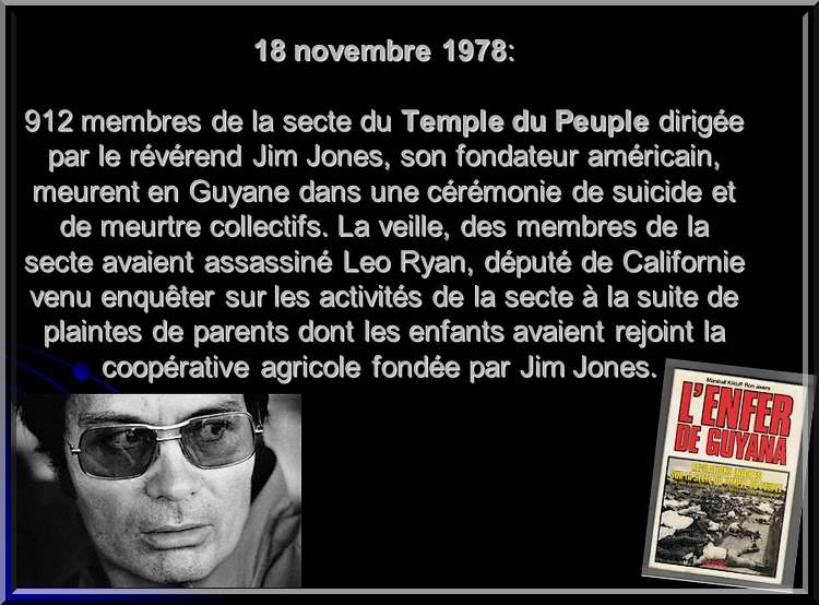 18 novembre1978 : suicide collectif d'une secte