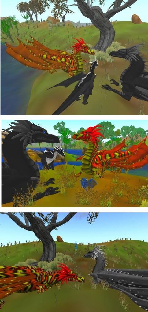 Dragons au pied d'un arbre