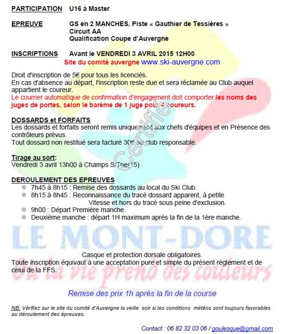 Report du Slalom Géant U16 et + au samedi 4 avril 2015