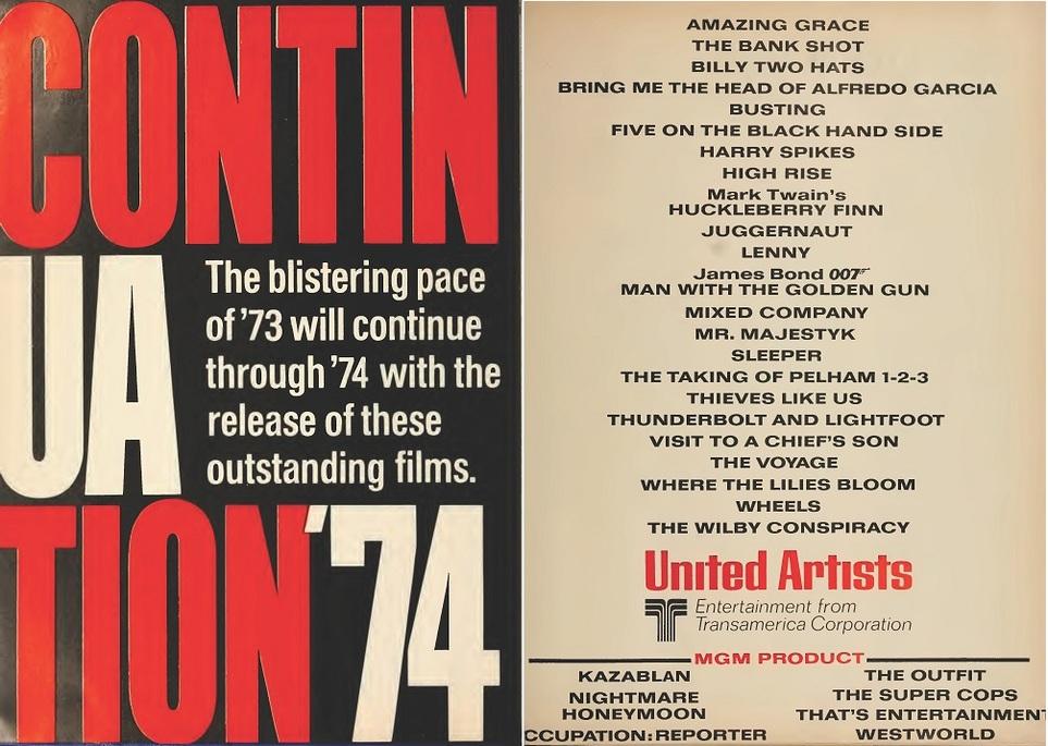 UNITED ARTIST 1974 BOX OFFICE