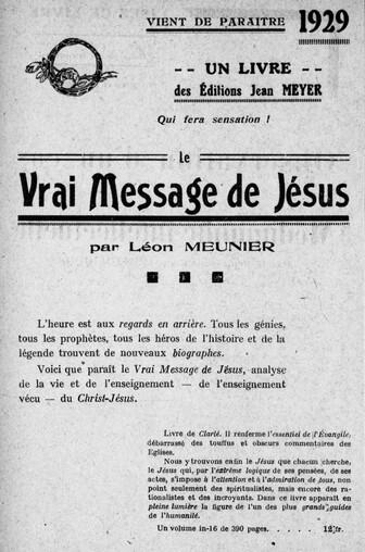 Léon Meunier, Le Vrai Message de Jésus - Publicité (Revue spirite)