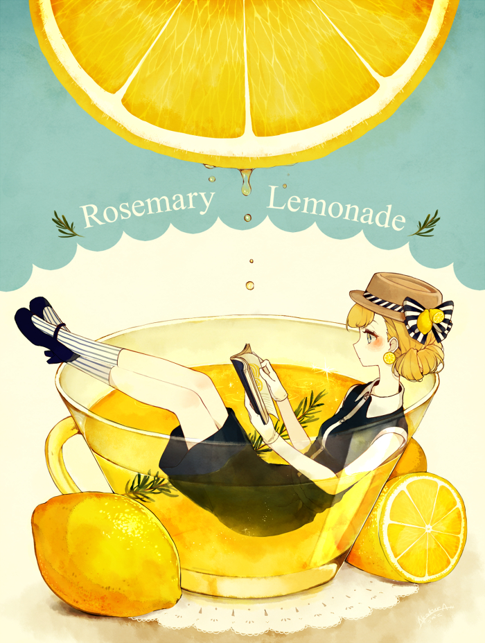 Tags: Anime, Pixiv Id 882569, Lemon, Lemonade, Vertical-striped Legwear, Mobile Wallpaper, Original, PNG Conversion