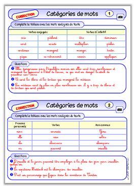 Les catégories de mots, CE2 (fichier autonomie)