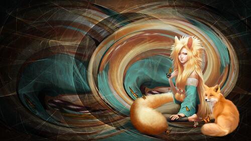 fond femme renard 2
