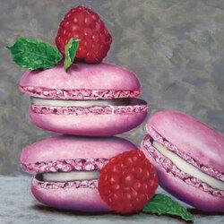 macarons et framboises 50 x 70 cm Sylvie Marin Durand