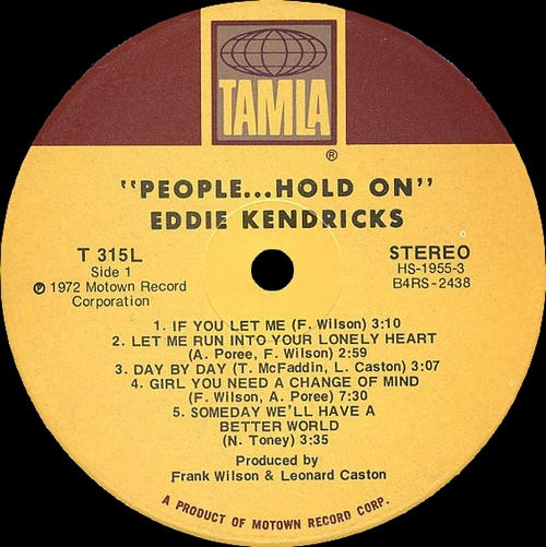 "Eddie Kendricks : Album "" People...Hold On"" Tamla Records T 315L [ US ]"