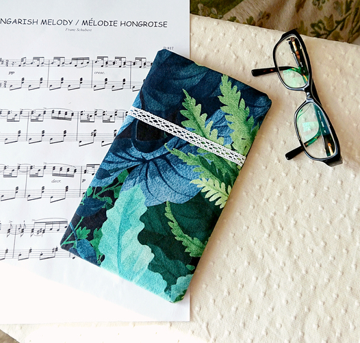 Etui molletonné téléphone mobile, lunettes, maquillage, 20 x 11,5 cm, tissu coton Forêt tropical Vert Bleu / fermeture bouton pression