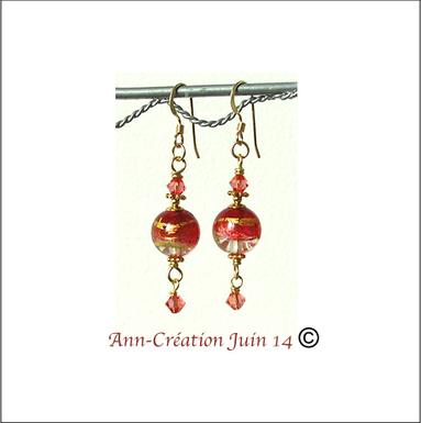 Boucles Verre de Murano authentique Roses Feuille d'Or  24 Kt / Plaqué Or 14 kt Gold Filled