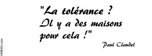 La reflexion du samedi: Tolérance et respect de l'autre.