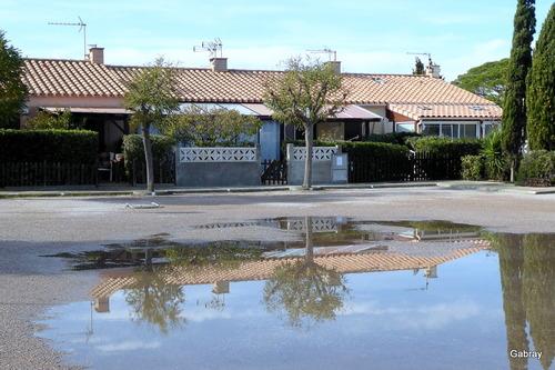 Le Barcarès: pluie, flaques et reflets!