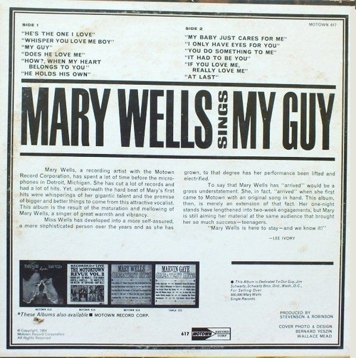 "Mary Wells : Album "" Mary Wells Sings My Guy "" Motown Records M 617 [ US ]"