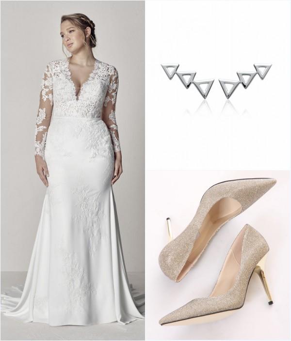 robe de mariée sirène grande taille avec manche longue en dentelle, boucles d'oreilles et escarpins