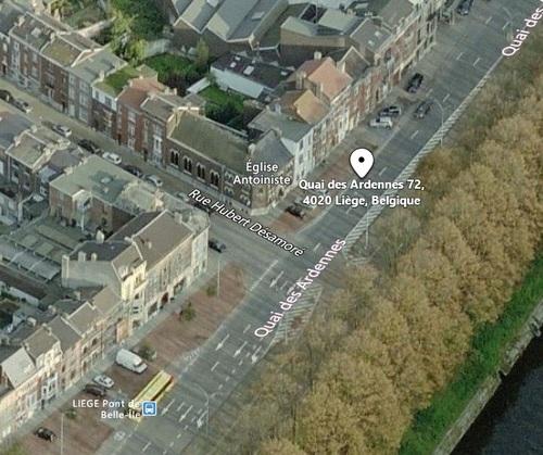 Angleur - vue aérienne du temple du Quai des Ardennes