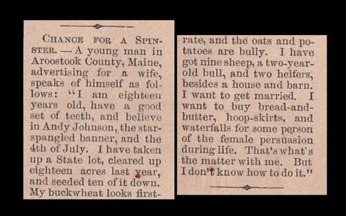 Il publie une annonce en 1865 pour trouver une femme...