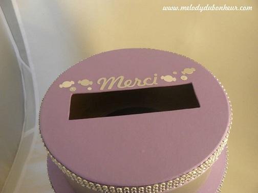 Urne à étages gâteau mariage gourmandise bonbon lilas et argent irisé