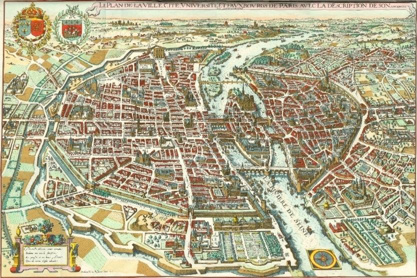 « Le Plan de la Ville Cité Université et Fauxbourgs de Paris », par Matthéus Mérian l'Ancien en 1615
