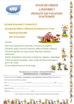 ALF - STAGE DE CIRQUE vacances d'automne