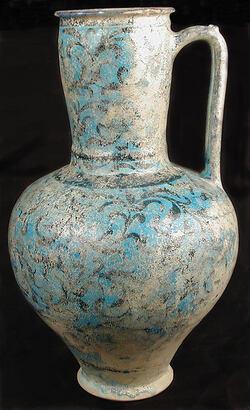 Ewer début 13e Iran Kashan stonepaste glazed 33X20.3cm