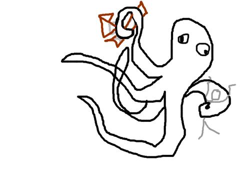 Le krak... poulposaurus dévoreur de bateaux. (et de bonhomme bâton aussi)