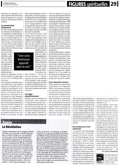 """Article du journal """"L'Homme Nouveau"""""""