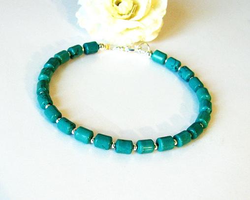 Réservé pour le moment - Bracelet Turquoise Naturelle de Chine / Plaqué argent