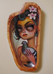 Palomita - Oil on carved wood - 2011