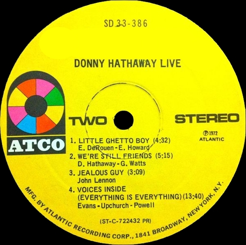"Donny Hathaway : Album "" Live "" Atco Records SD 33-386 [ US ]"