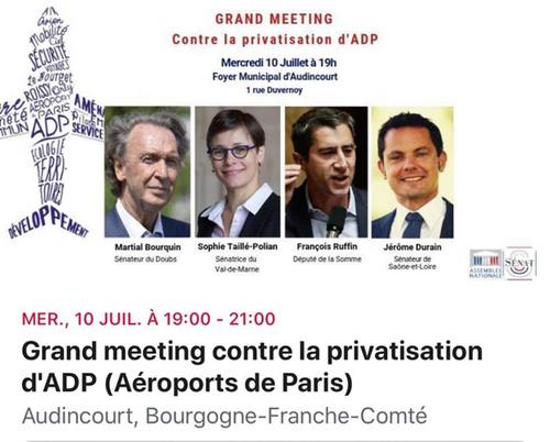 Signons et faisons signer pour le RIP contre la privatisation d'ADP