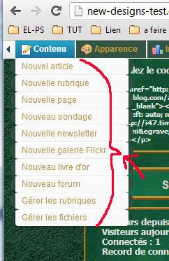 Changer la couleur du texte du menu déroulant de la barre
