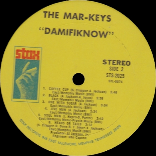 "The Mar-Keys : Album "" Damifiknow ! "" Stax Records STS 2025 [ US ]"