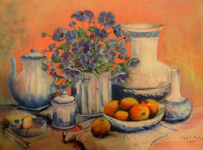 Fleurs bleues et fruits