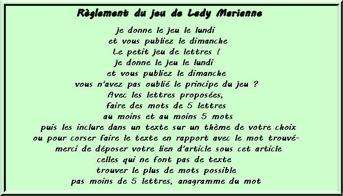Le petit jeu de lettres no 181 chez Lady Marianne