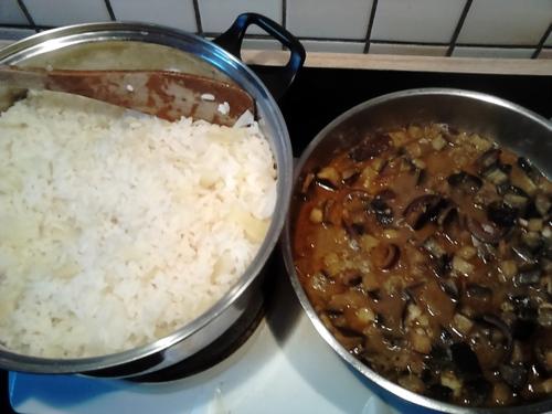 Riz au chou et sauce aubergine