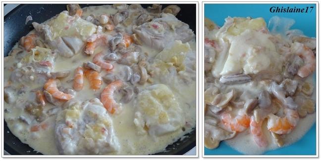 Cabillaud, Crevettes, Champignons et Sauce au Citron