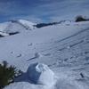 Au-dessus des Granges de Gère gros blocs de neige descendus des hauteurs