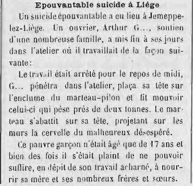 Suicide d'un ouvrier à Jemeppe (L'Écho Saumurois 19-20 nov 1894)