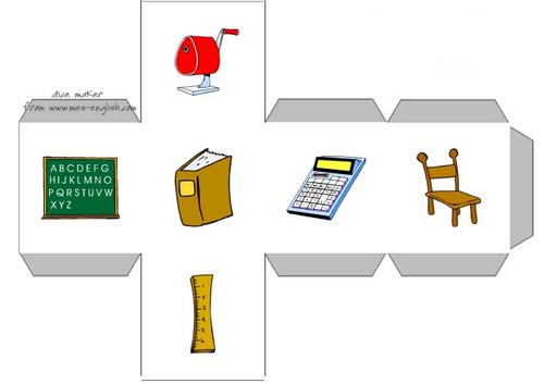anglais : dés pour s'exprimer sur le matériel scolaire - school supplies.