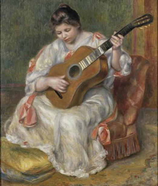 « Femme jouant de la guitare », 1897, Pierre-Auguste Renoir, musée des Beaux-Arts de Lyon.