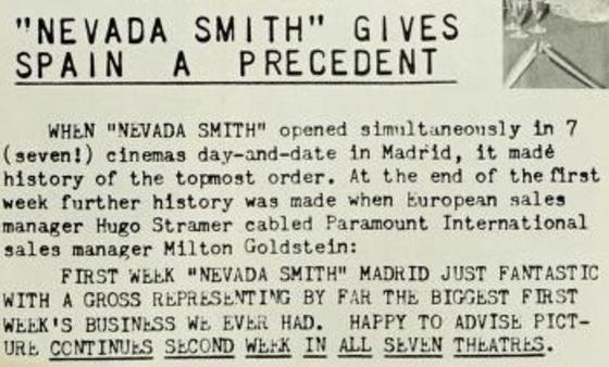 NEVADA SMITH BOX OFFICE USA 1966