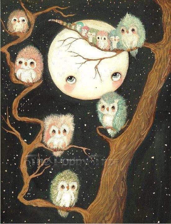 Hibou chouette impression dans un Tree Nursery Art par thepoppytree