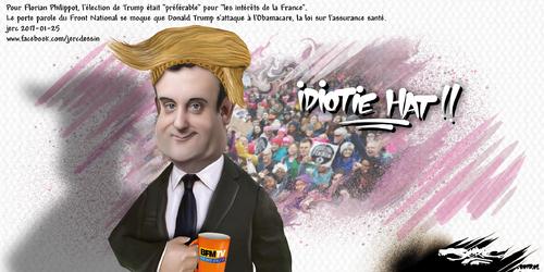 dessin de JERC mercredi 25 janvier 2017 caricature Florian Philippot Le bras droit tendu de Marine Le Pen au rassemblement pro Trump www.facebook.com/jercdessin