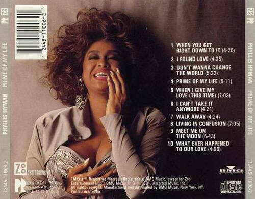 "1991 : Phyllis Hyman : CD "" Prime Of My Life "" Philadelphia International / Zoo Entertainment Records"