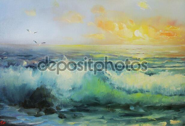 Dessin et peinture - vidéo 1826 : Paysage marin qui peut être peint à l'acrylique ou à l'huile 1.