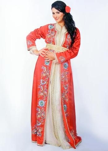 Takchita marocaine glamour sur mesure de haute couture avec caftan simple pas cher TAK-S855