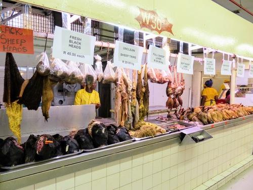 marché couvert de Durban; viande et poisson;