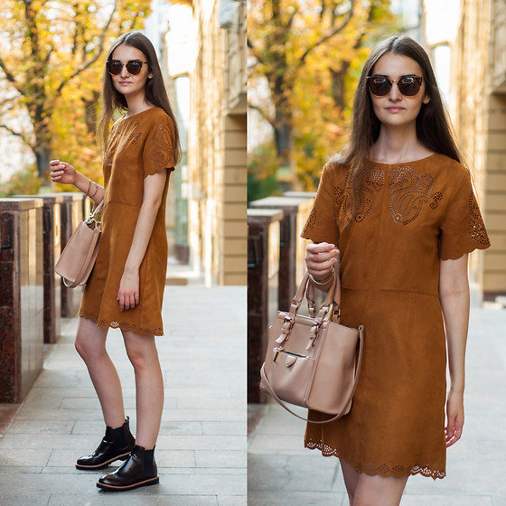 Kristina&Karina Vartanovy - Tinydeal Leopard Cat Eye Sunglasses, Sheinside Suedette Short Sleeve Dress, Zara Pink Bag, Pull & Bear Bordeau Leather Chunky Brogue Chelsea Boots - Karina: steal my sunshine